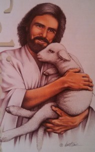 Jesus holding sheep